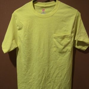 Hanes Neon Green Tagless T Shirt Size Small